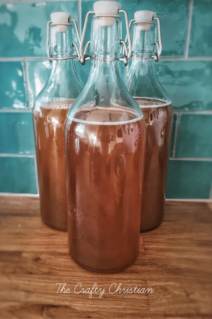 homemade kombucha in swing cap bottles