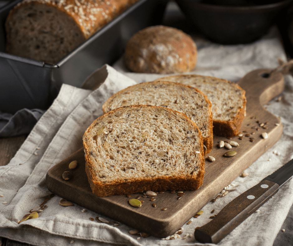 sliced bread on a wooden cutting board