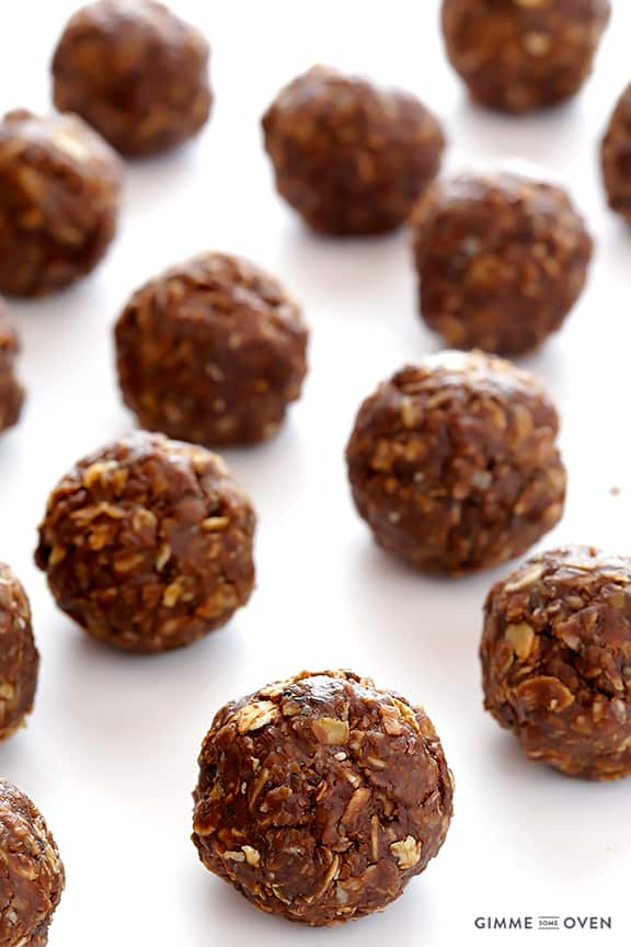 chocolate peanut butter energy bites on a counter