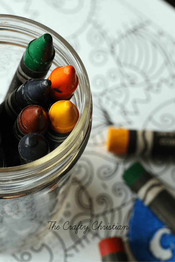 crayons in a glass jar