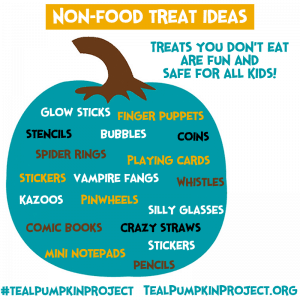 Non-food treat ideas: glow sticks, stencils, spider rings, bubbles, vampire fangs, pinwheels, comic books, crazy straws, stickers, pencils, silly glasses, and more!