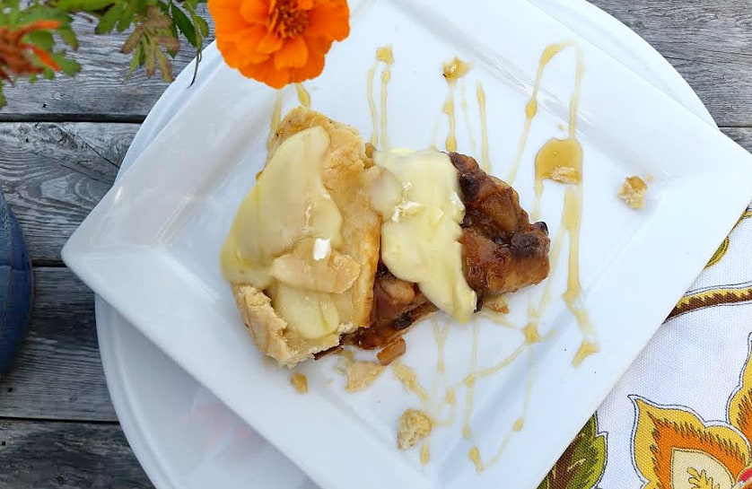 pear fig galette on a square plate