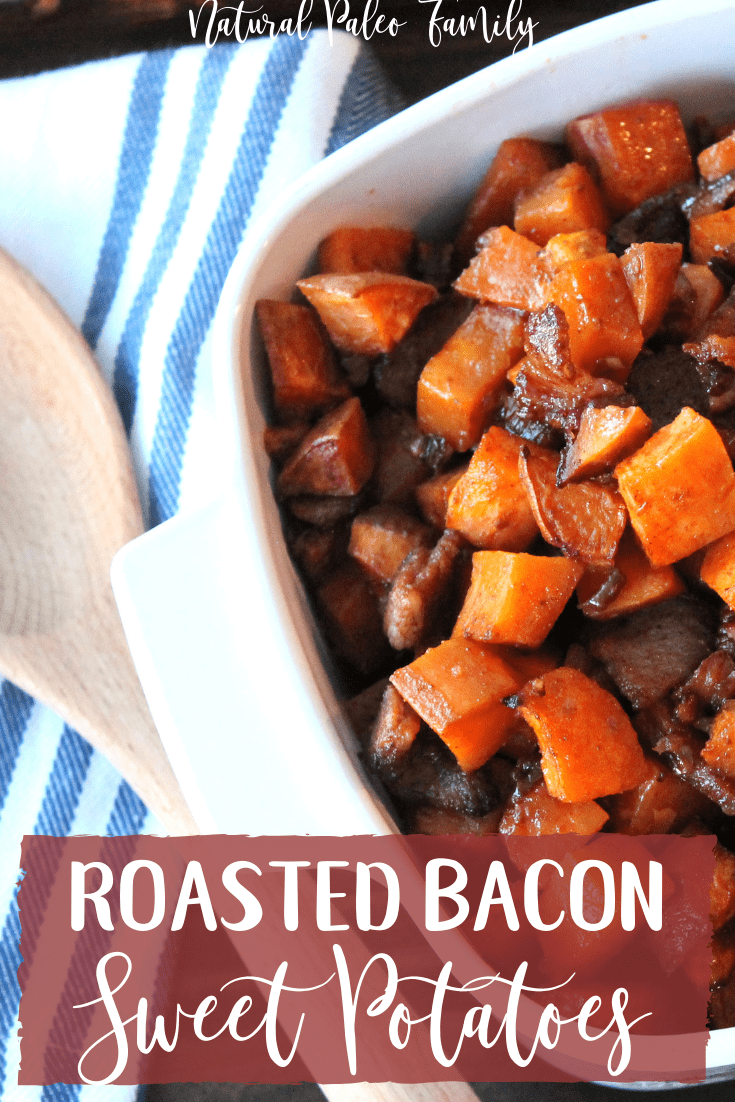 There are many typical holiday dishes, and if I'm being completely honest, sometimes I get bored with them.  I love the tradition, but I get tired of eating the same thing.  This roasted bacon sweet potatoes recipe is a fantastic twist on the candied yams during the holidays, but it's sugar free and so delicious!