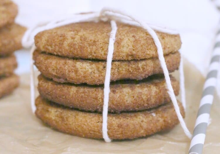 stack of four paleo snickerdoodles wrapped with string
