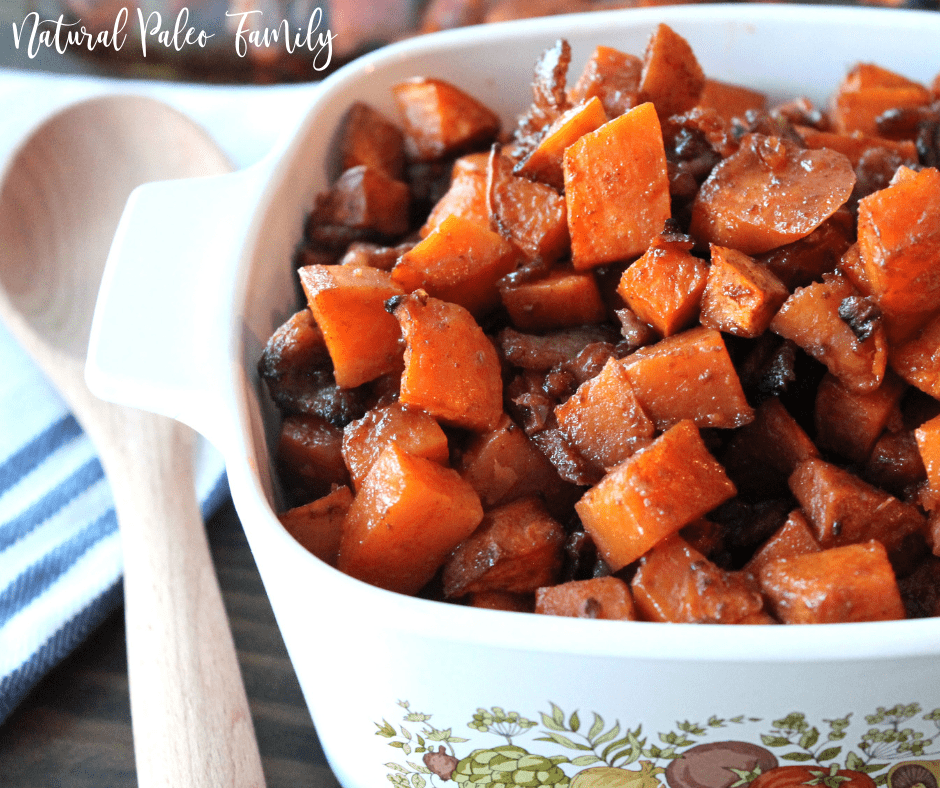 Roasted bacon sweet potatoes in a casserole dish