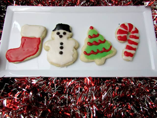 iced cutout cookies on a plate