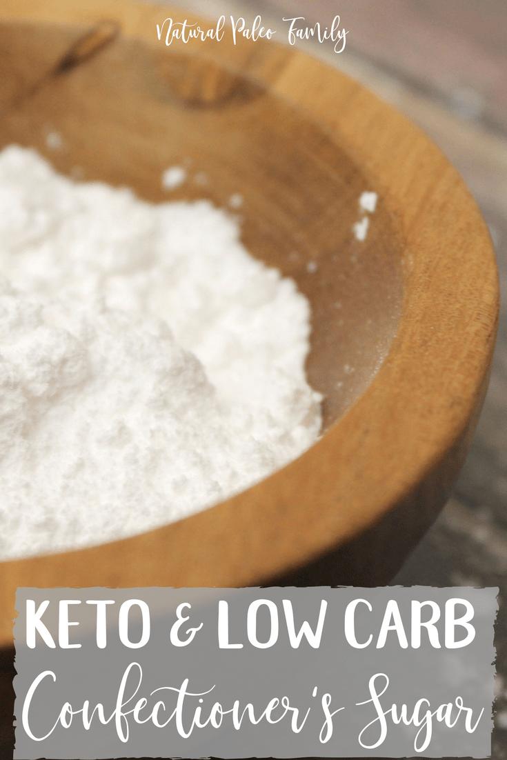 wooden bowl full of keto confectioner's sugar