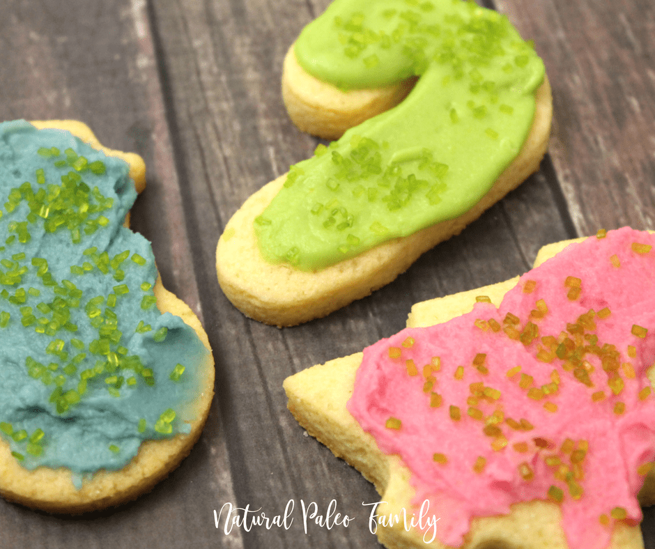 keto frosted christmas cookies on wood table