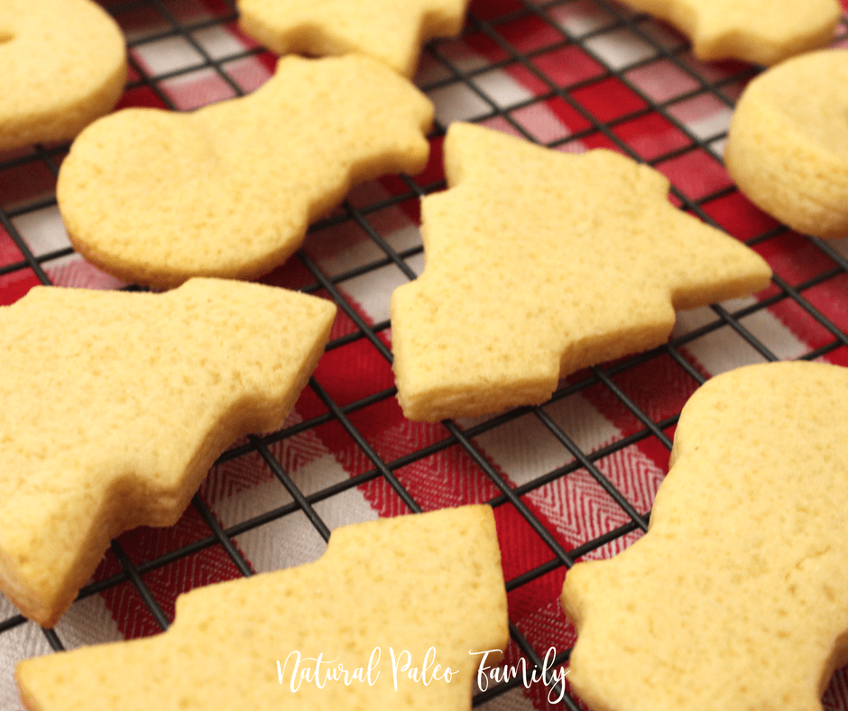 paleo christmas cookies on cooling rack, keto christmas cookies ready for frosting