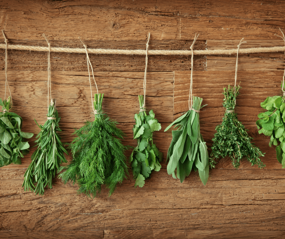 grow your own food, herbs drying upside down on a rustic wood background