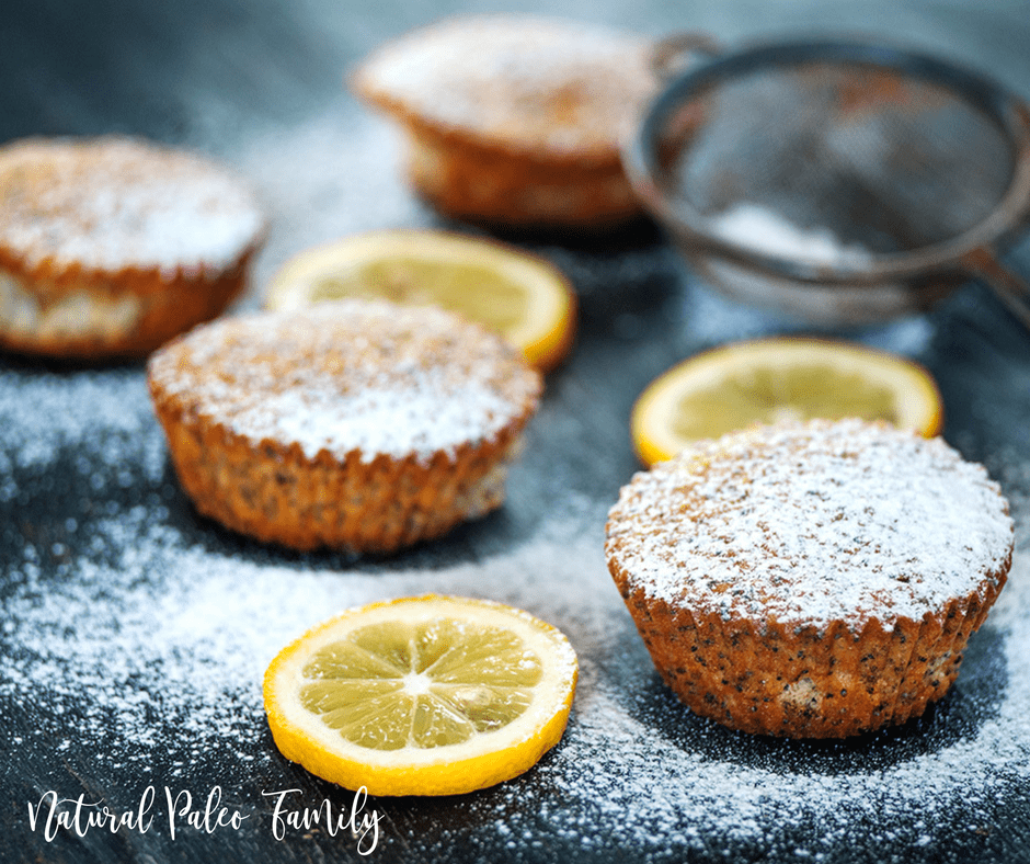 paleo lemon poppyseed muffins with sugar and lemons