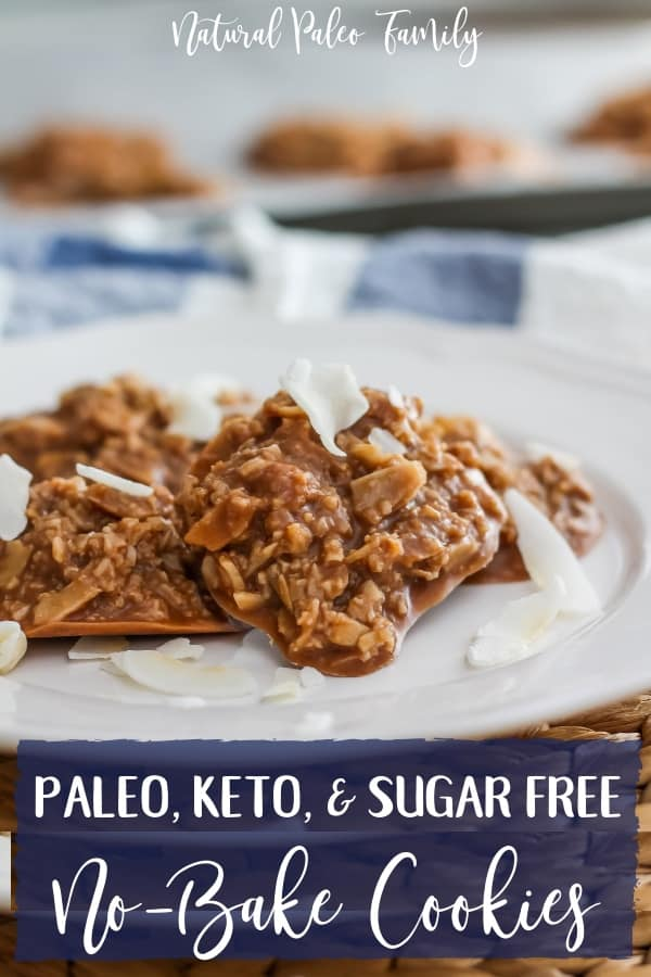 These sugar free no-bake cookies are a delicious, healthy, treat; vegan no bake cookies are perfect for a little indulgence without wrecking your diet. Paleo no bake cookies will help keep you on your diet!  Keto no bake cookies are just what you've been looking for!  #paleocookies #ketocookies #sugarfreecookies #nobakecookies #healthydesserts #chocolatecookies