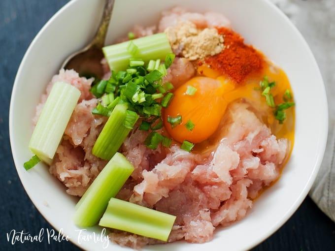 keto buffalo chicken meatball ingredients in a bowl